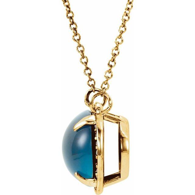 14K Yellow London Blue Topaz & .08 CTW Diamond Halo-Style 16 1/2