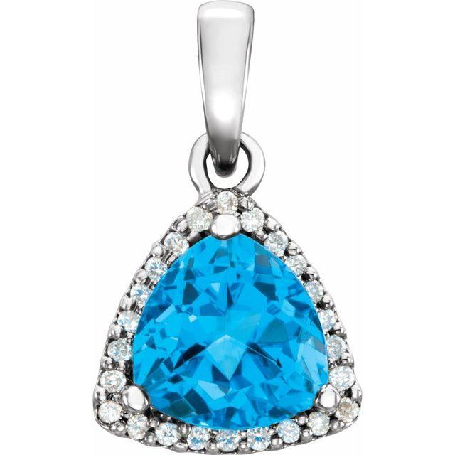 14K White Swiss Blue Topaz & 1/10 CTW Diamond Pendant
