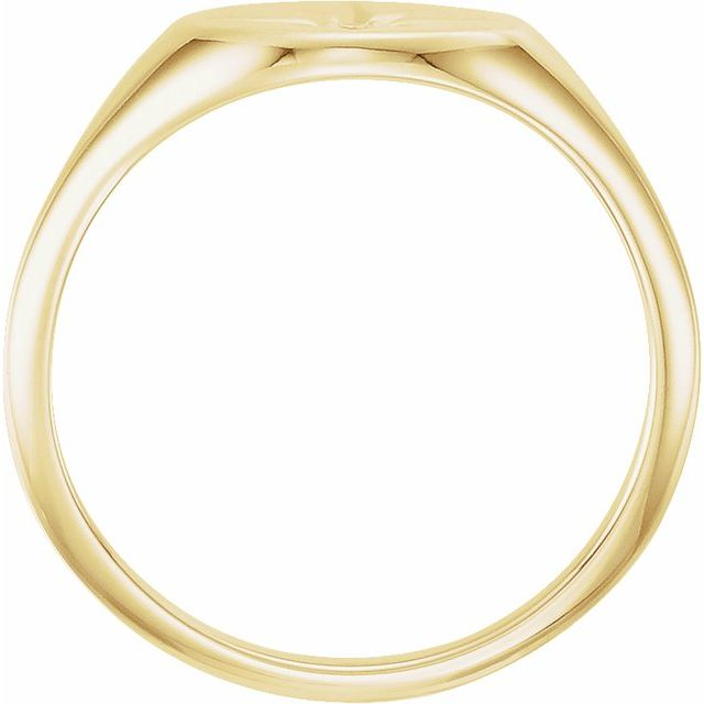 14K Yellow .02 CT Diamond 10x8 mm Oval Starburst Signet Ring