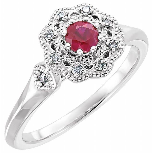 14K White Ruby & 1/10 CTW Diamond Ring
