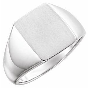 14K White 15x12 mm Rectangle Signet Ring