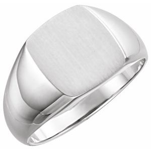 14K White 13x12 mm Rectangle Signet Ring