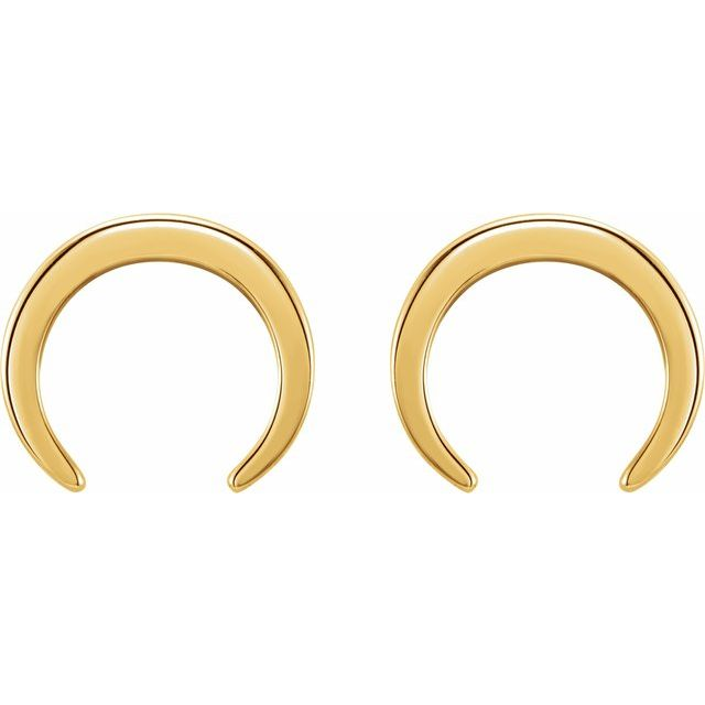 14K Yellow Crescent Earrings