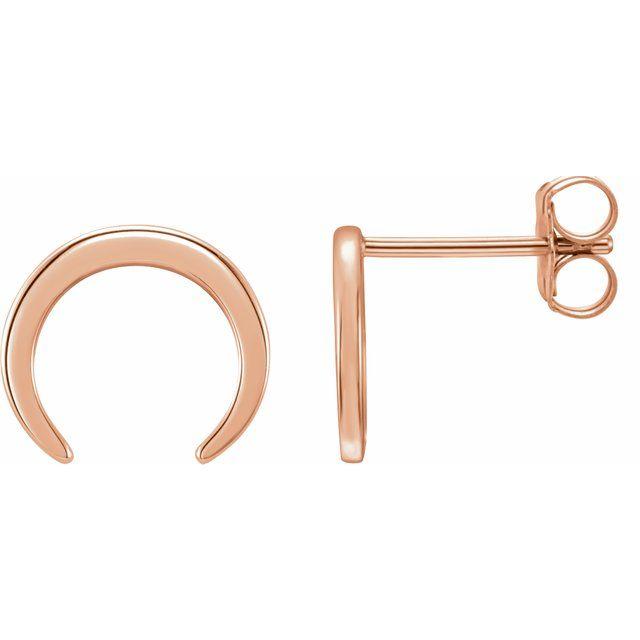 14K Rose Crescent Earrings