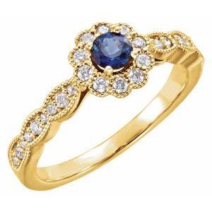 14K Yellow Blue Sapphire & 1/3 CTW Diamond Ring