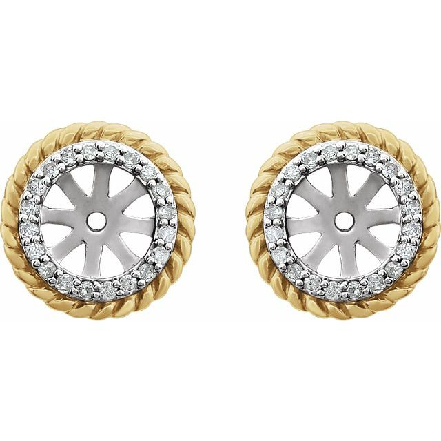 14K White Gold-Plated 1/8 CTW Diamond Rope Earring Jackets with 5.4mm ID