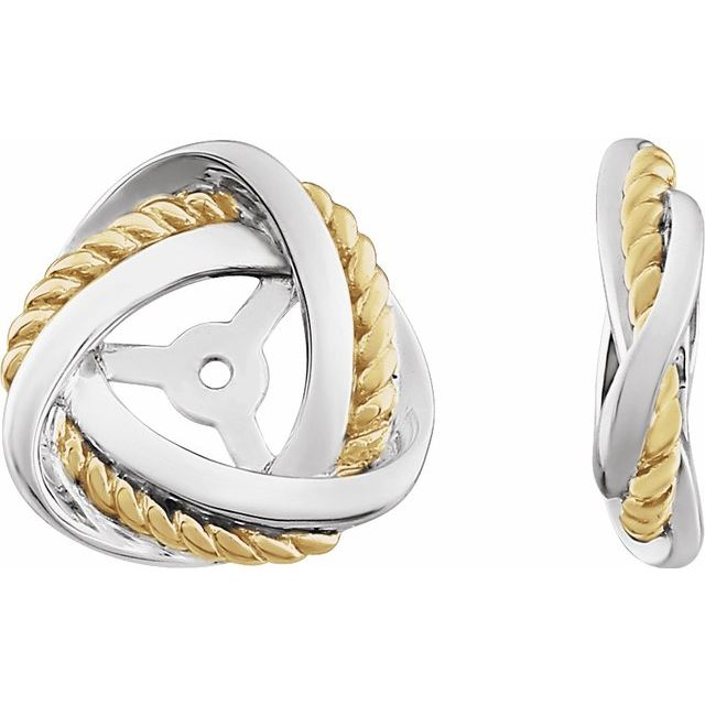14K White/Yellow Gold-Plated Earring Jackets