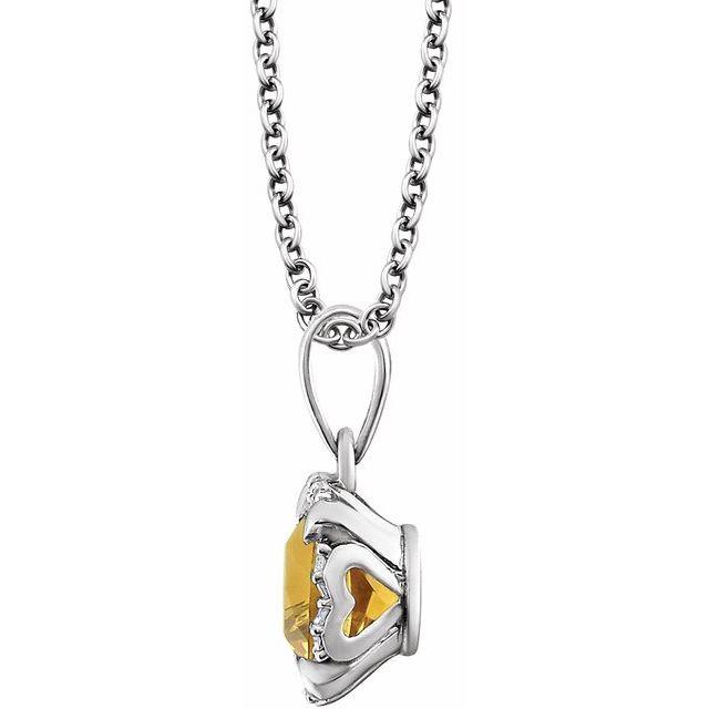 14K White Citrine & .05 CTW Diamond 18