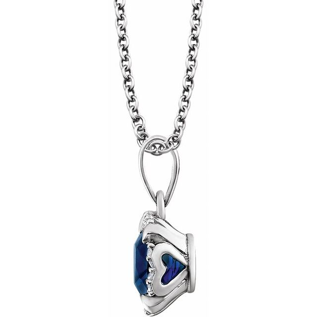 14K White Lab-Grown Blue Sapphire & .05 CTW Natural Diamond 18