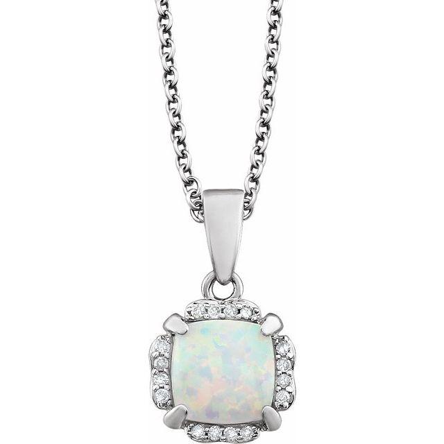 14K White Opal & .05 CTW Diamond 18