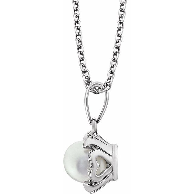 14K White Freshwater Cultured Pearl & .05 CTW Diamond 18