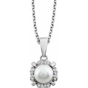 """14K White Freshwater Cultured Pearl & .05 CTW Diamond 18"""" Necklace"""