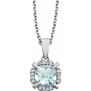 "14K White Aquamarine & .05 CTW Diamond 18"" Necklace"