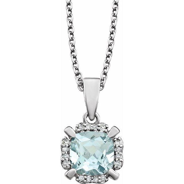 14K White Natural Aquamarine & .05 CTW Natural Diamond 18