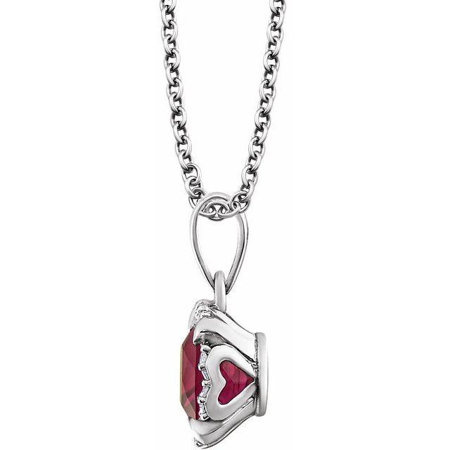 14K White Created Ruby & .05 CTW Diamond 18