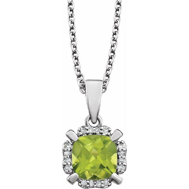 14K White Peridot & .05 CTW Diamond 18