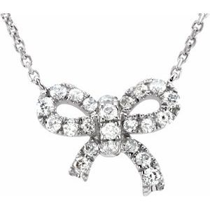 "14K White 1/6 CTW Diamond Bow 18"" Necklace"