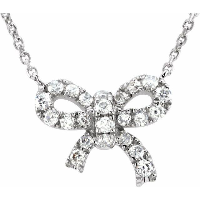 14K White 1/6 CTW Diamond Bow 18