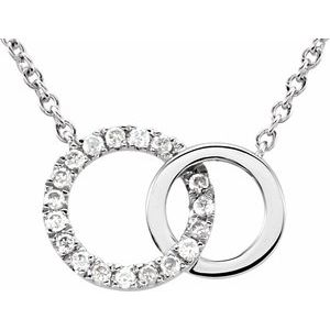 "14K White .06 CTW Diamond Circle 18"" Necklace"