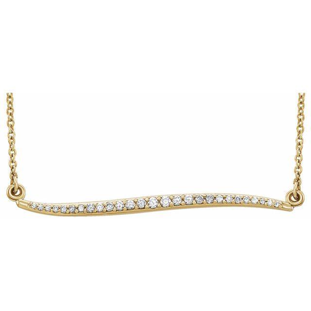 14K White 1/6 CTW Diamond Curvilinear Bar 17.5