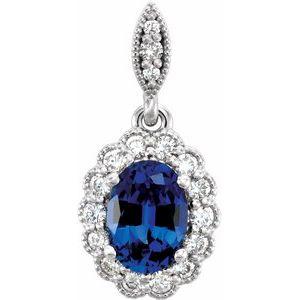 14K White Lab-Grown Blue Sapphire and 1/5 CTW Diamond Pendant