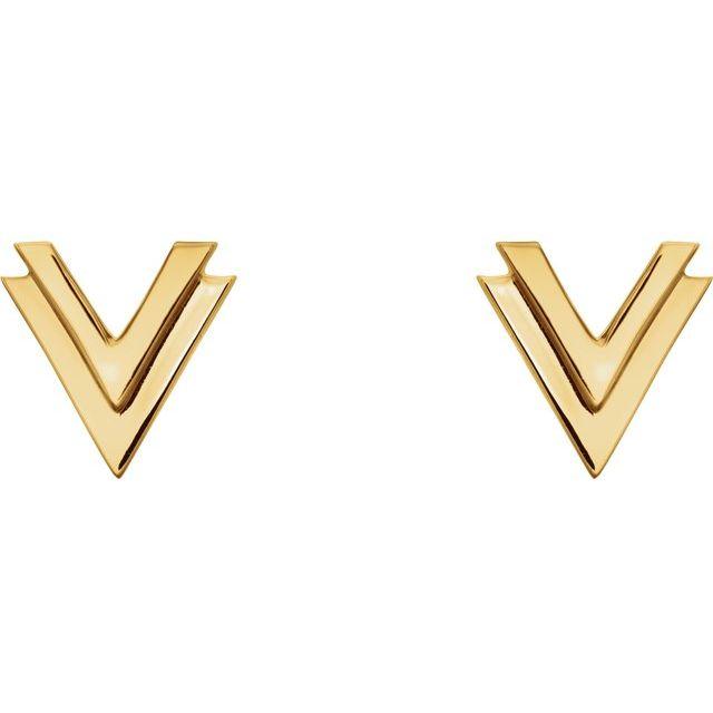14K Yellow 8 mm Double V Earrings