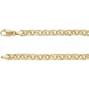 "14K Yellow Solid Double Link Charm 7"" Bracelet"