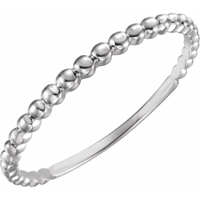 14K White Stackable Bead Ring