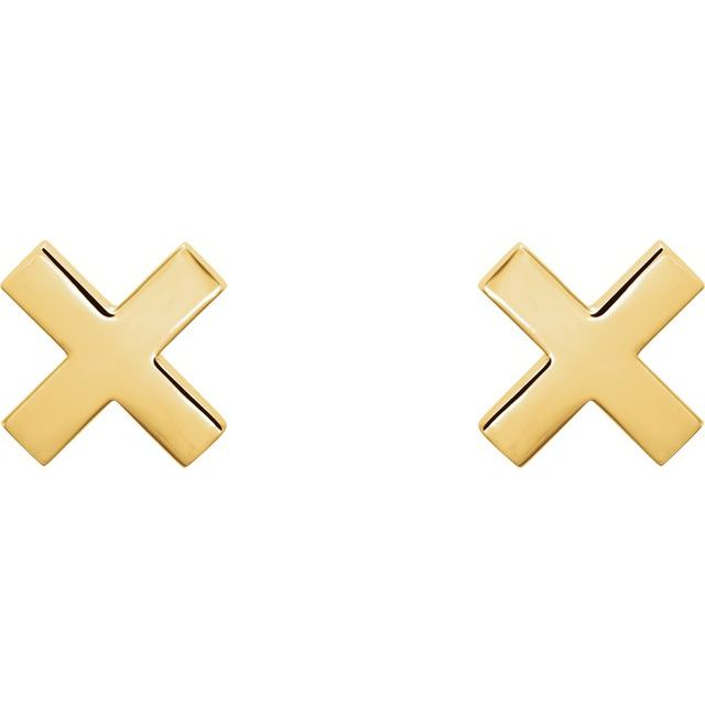 14K Yellow 7.9 mm X Earrings