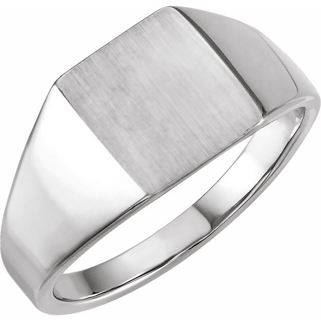 14K White 12x10 mm Rectangle Signet Ring