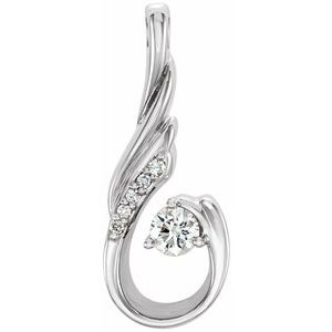 14K White 1/10 CTW Diamond Pendant