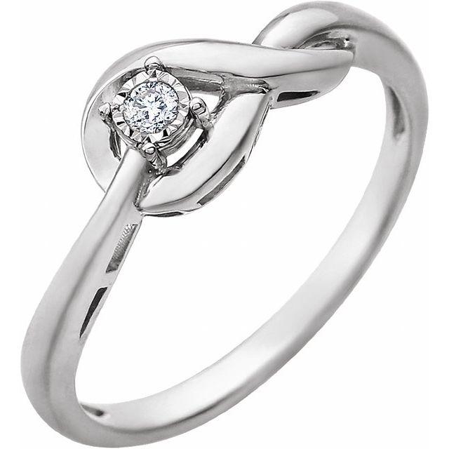 14K White .04 CT Diamond Ring
