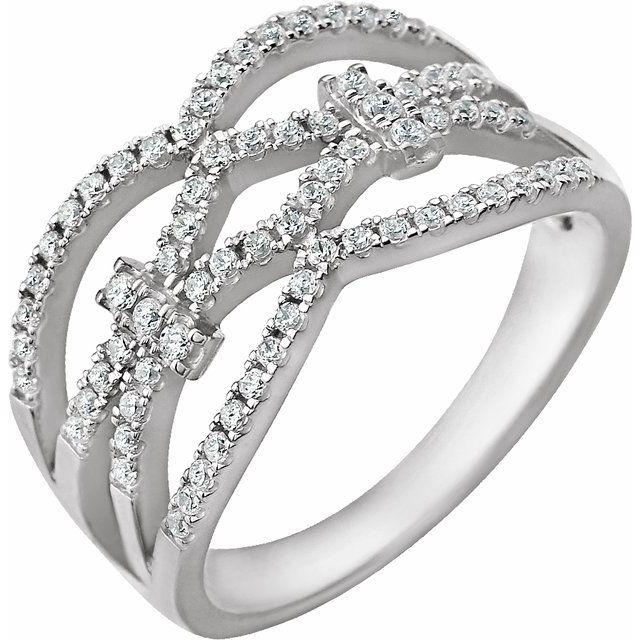 14K White 3/8 CTW Diamond Ring