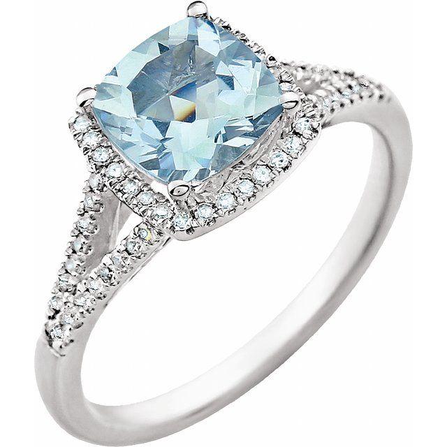 14K White Aquamarine & 1/5 CTW Diamond Ring