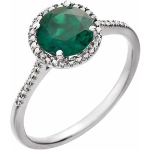 Sterling Silver Created Emerald & .01 CTW Diamond Ring