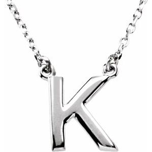 """Sterling Silver Block Initial K 16"""" Necklace"""