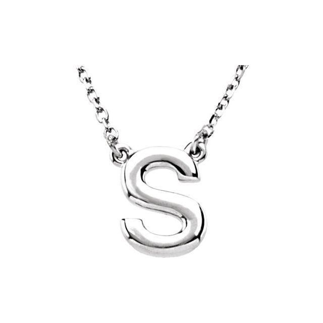Sterling Silver Block Initial S 16