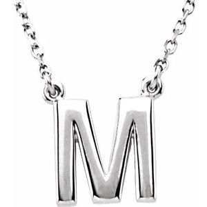 "Sterling Silver Block Initial M 16"" Necklace"