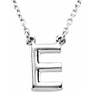 """Sterling Silver Block Initial E 16"""" Necklace"""