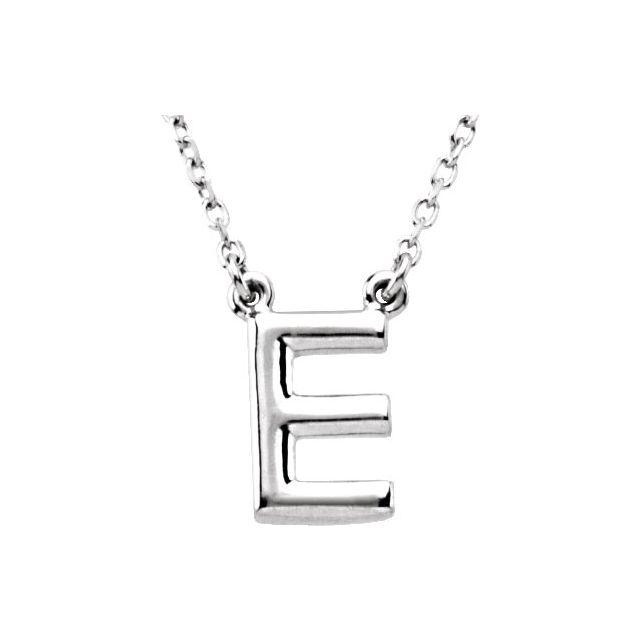 Sterling Silver Block Initial E 16