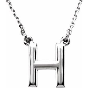 "14K White Block Initial H 16"" Necklace"