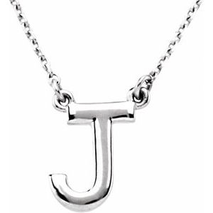 "Sterling Silver Block Initial J 16"" Necklace"