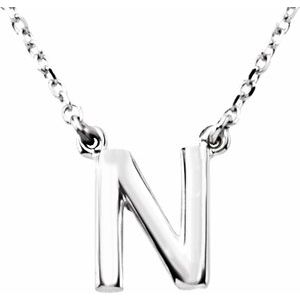 """Sterling Silver Block Initial N 16"""" Necklace"""