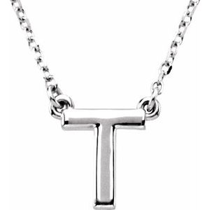 "14K White Block Initial T 16"" Necklace"