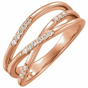 14K Rose 1/6 CTW Diamond Criss-Cross Ring