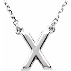 "Sterling Silver Block Initial X 16"" Necklace"