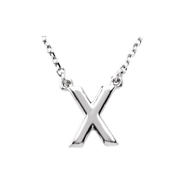 Sterling Silver Block Initial X 16
