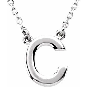 """Sterling Silver Block Initial C 16"""" Necklace"""