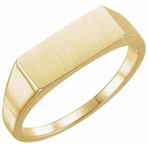 14K Yellow 15x7 mm Rectangle Signet Ring