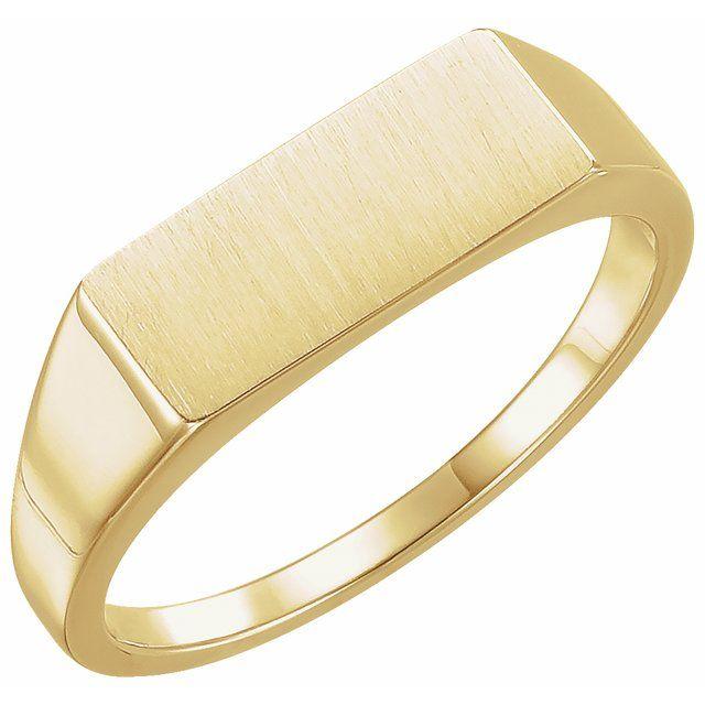 14K Yellow 15x7 mm Rectangle Signet Ring